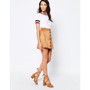 Glamorous Button Up Suedette Skirt